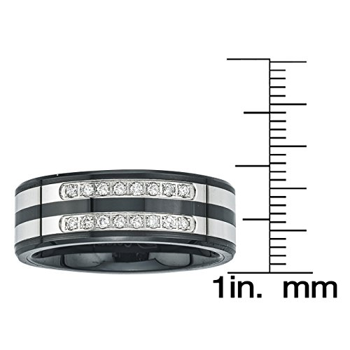 Mens Diamond Double Row Band in Ceramic and Stainless Steel (0.20 carats, H-I I3) by AX Jewelry (Image #2)