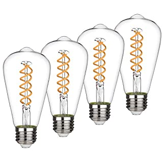 ST21(ST64) 4.5W Vintage Edison LED Bulb, Soft White 2700K, Antique Flexible Spiral LED Filament Light Bulb, Dimmable 450lm, 4.5W Equivalent to 50W, E26 Medium Base, Clear Glass (4.5W-2700K-4 Pack)