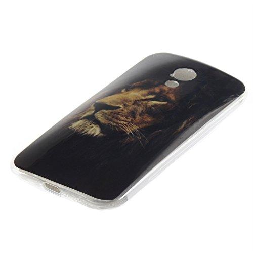 Funda Silicona Moto G2, KATUMO® Carcasa Dura Transparente Gel para Motorola Moto G (2ª Generación) Funda Goma Caja Cubierta Clear Cover-Diente de León Blanco León