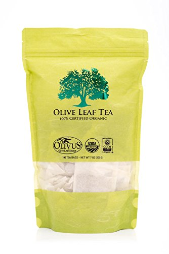 Olive Leaf Tea - Certified Organic - Non-GMO Herbal Tea Bags (100 count) - Sourced from Spain and Manufactured in USA - Antioxidant Immunity Supplement for Health Wellness & Vitality