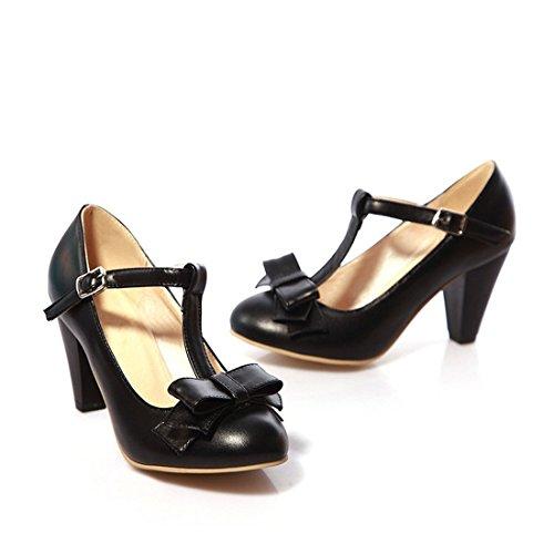 Womens Sweet Bowknot T-strap Bows Modieuze Gesp Ronde Neus Hoge Hak Mary Janes Dress Pumps Zwart