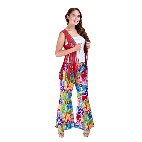 Charm Rainbow Women's 70's Costume Hippie Pants Stretchy Bell Bottom(M)