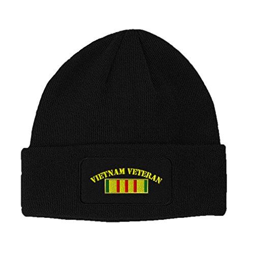 Speedy Pros Vietnam Veteran Flag Embroidered Unisex Adult Acrylic Patch Beanie Warm Hat - Black, One Size