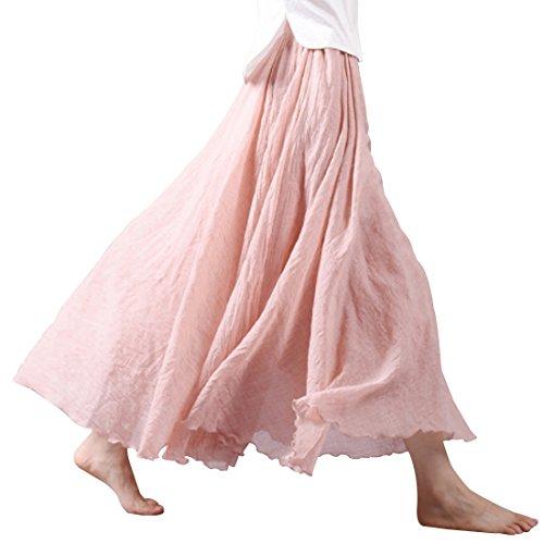 Kafeimali Women Bohemian Cotton Linen Double Layer Elastic Waist Long Maxi Skirt (P, 85CM-Length)