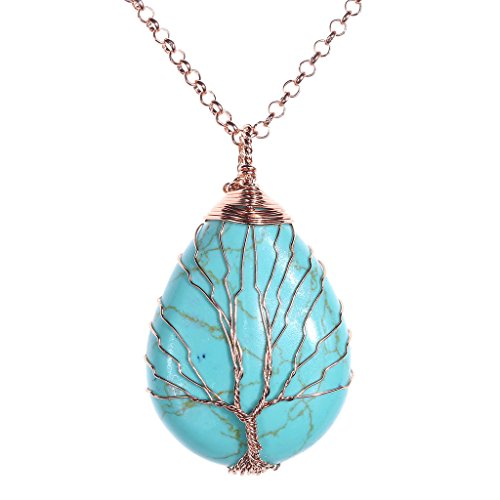 (Jovivi Vintage Tree of Life Wire Wrapped Copper Teardrop Synthetic Turquoise Gemstones Pendant Necklace)