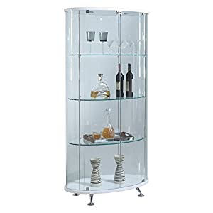 Chintaly Imports Oval Glass Curio Cabinet With 2 Doors/3 Shelves/1 Light U0026  Lock, Clear/White