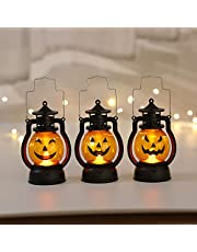 Shuye Drie decoratieve verlichting voor Halloween met pompoen, geschikt als Halloween-decoratie, draagbare lamp voor kinderen, draagbaar, nachtlampje, Ghosty Gelächter licht, inclusief draagbare pompoenlantaarn, retro lampen, feestdecoratie