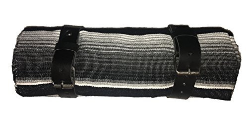Leather Border (Black & Gray Serape roll up blanket with leather strap for Harley Davidson)
