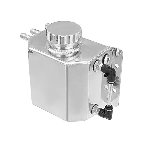 Hwbnde Universal 1L Aluminum Coolant Radiator Overflow Recovery Water Tank Bottle Auto Engine Protector Engine Oil Fuel Gas Catch Can Breather Tank (Silver)