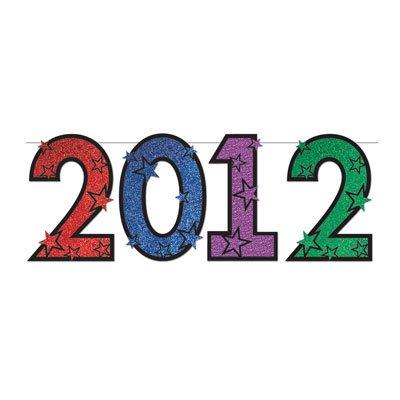 ''2012'' Glittered Streamer 15in. x 6ft. 1/Pkg, Pkg/12