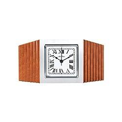 Seth Thomas Levitown Oak Finish Wood Silver Tone Bezel with White Dial Octagonal Alarm Desk and Table Clock