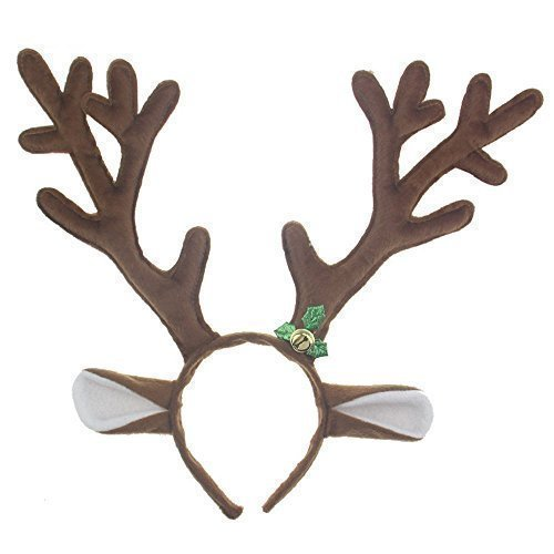 Rudolph The Red Nosed Reindeer Dog Costume (D-Foxes Cute Reindeer Antlers Headband Headwear Hair Hoop for Christmas Headbands ,Party,Cosplay,Halloween and Masquerade Hair Accessory)
