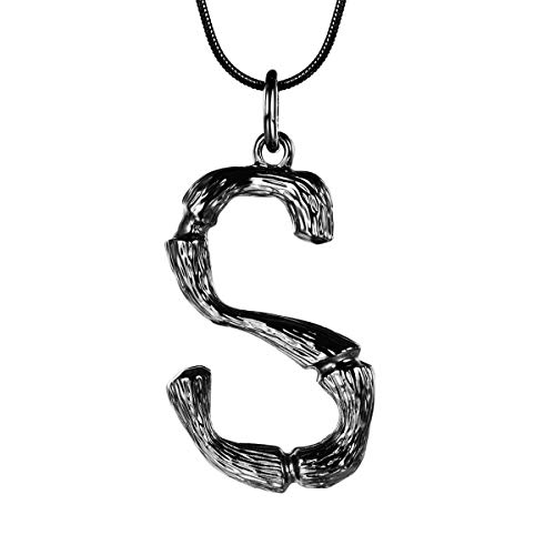 Steel Womens Charm - FOCALOOK Initial Necklace Black Gun Plated Bamboo Monogram Capital Alphabet Charms Surgical Stainless Steel Pendant with Snake Chain Women Men Party Fashion Jewelry Letter Necklace(S)