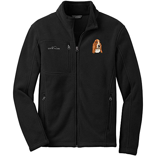 Cherrybrook Dog Breed Embroidered Mens Eddie Bauer Fleece Jacket - X-Small - Black - Basset Hound