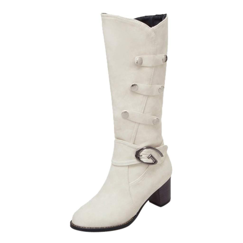 Kenvina Knee High Boots for Women's Fashion Chic Sexy Scrub High-Heel Shoe Winter Warm Snow Boots by Kenvina