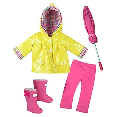 18 Inch Doll Raincoat 4Pc. Set Fits 18 Inch American Girl Doll Clothes & More! Doll Rain Gear of Yellow Rain Jacket, Doll Boots, Pink Leggings and Umbrella: Toys & Games