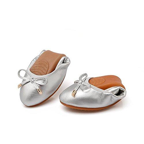 Silver B1 Flat Flats Toe Leather Womens Classic Pointy 628 Shoes4PD Ballet Slip On LIURUIJIA 6HOfZR