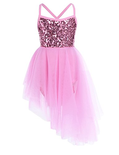 Freebily Girls Sequined Camisole Leotard Ballet Tutu Layers Skirt Dress Ballerina Dancewear Costumes Size 10-12 Pink(Sequins)