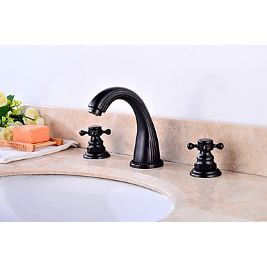 YZL Contemporary Antique Widespread Widespread with Brass Valve Two Handles Three Holes for Oil-rubbed Bronze , Bathroom Sink Faucet by Faucet
