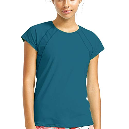 Women Short Sleeve Athletic Tops Mesh Shirts Cool Dry U Neck Sports Yoga Tee Shirts,Turquoise,M