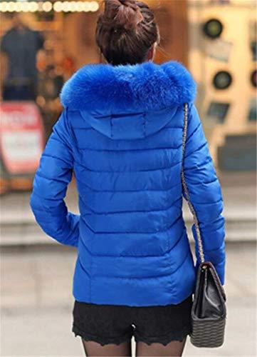 Slim Áspera Sólidos con Especial Blau Abrigos Fit Acolchado Estilo Colores Capucha Abrigo Grandes Mujer Cremallera Transición Pluma Invierno Piel De Termica Espesar con Tallas wIW7q8PI