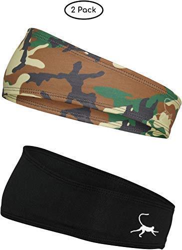 Monkey Movement Black & Green Camo Bandana 2-Pack for Men & Women Sweat-Wicking Athletic Cooling Headband: Running, Crossfit, Tennis, Football, Hunting and Fishing