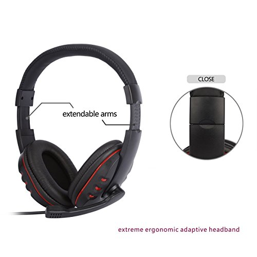 Systech P4 – 726 C Headband Gaming Headset 3.5 mm porta cuffie stereo per PS4 iPhone iPad Samsung Huawei PC game-red & nero
