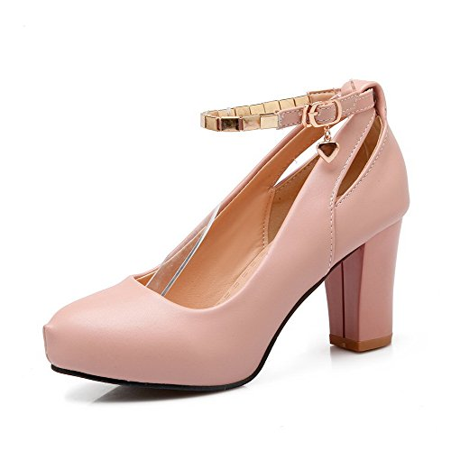 VogueZone009 Women's Solid Soft Material High-Heels Buckle Round Closed Toe Pumps-Shoes Pink
