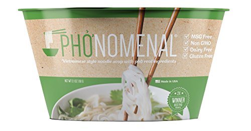 Pho'nomenal Instant Phở chay, Vietnamese Vegetable Noodle Soup, Non GMO, MSG Free, 6 Bowl Pack