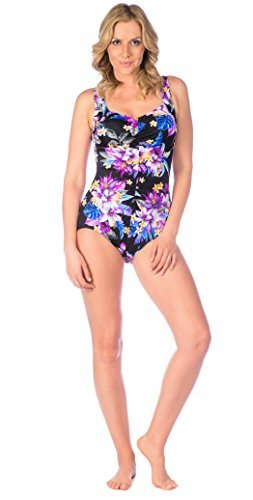 Maxine Of Hollywood Women's Shirred Front Girl Leg One Piece Swimsuit, Black/Midnight Garden, 18