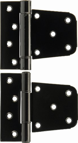 The Hillman Group 853350 3-1/2 Heavy Duty T-Hinge Set - Black Plated - For 2x4 or 4x4 Post Applications 1-Pack (2)