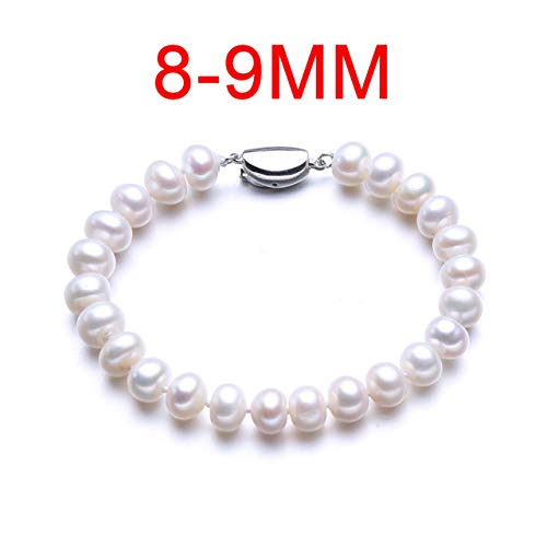 8 9/9 10mm Silver 925 Classic Bracelet Jewelry Natural Freshwater Pearl Bracelets for Women Birthday Gift - 8-9mm about 20cm