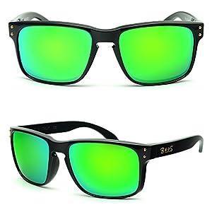 BNUS Italy made Classic Sunglasses Corning Real Glass Lens w. Polarized Option (Frame: Black, Green Flash)