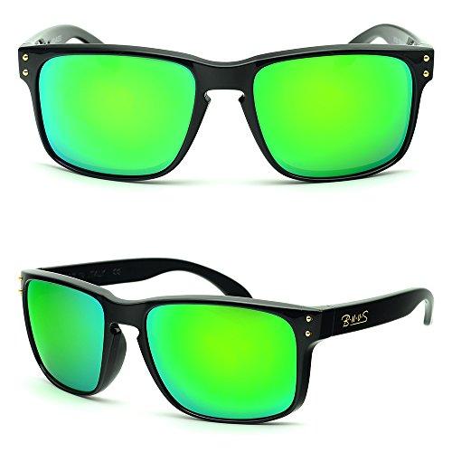 BNUS Italy made Classic Sunglasses Corning Real Glass Lens w. Polarized Option (Frame: Black, Green - Sunglasses Discount