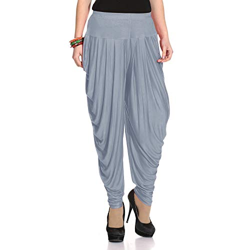 (Legis Relaxed Comfortable Rayon Printed Dhoti Pants Yoga Fitness Active wear for Women Dance - Free Size (Grey))