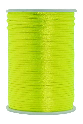 Mandala Crafts Satin Rattail Cord String from Nylon for Chinese Knot, Macramé, Trim, Jewelry Making (Lime Green, 2mm 100 Yards)