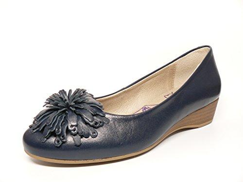 ad Marino Oro piel Zapato cuña Oro en Azul 351 marca moña mujer PITILLOS de manoletina 376 la color OUTCxAwqPU