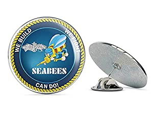 "US Navy WE Build, WE Fight.CAN DO! Seabee Enlisted Military Veteran USA Pride Served Gift Metal 0.75"" Lapel Hat Pin Tie Tack Pinback from Veteran Pins"