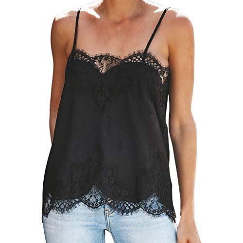 NUWFOR Fashion Women Strappy Vest Top Sleeveless Lace Patchwork Blouse Casual Tank Black by NUWFOR (Image #7)