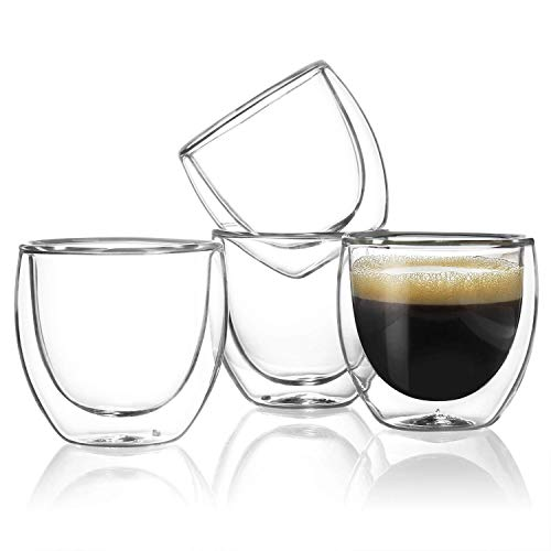 Sweese 4301 Espresso Cups - 4 Ounce (Top to The Rim), Double-Wall Insulated Glasses - Handmade Glass - Set of -