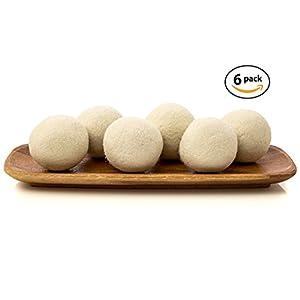 6-Pack Large Size Organic Australian Wool Dryer Balls,Premium Reusable Natural Fabric Softener,Organic Eco Wool Dryer Balls,Cenme Brand