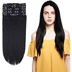 """12-22inch Clip in Remy Human Hair Extensions Grade 7A Thick to End Full Head Natural Hair Long Straight 8 Pieces 18clips 105g 20""""-22'', 1 Jet Black"""