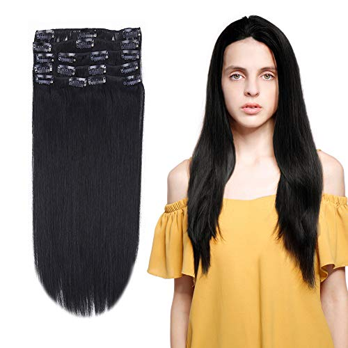 10-22inch Clip in Remy Human Hair Extensions Grade 7A Thick to End Full Head Natural Hair Long Straight 8 Pieces 18clips 100g 18