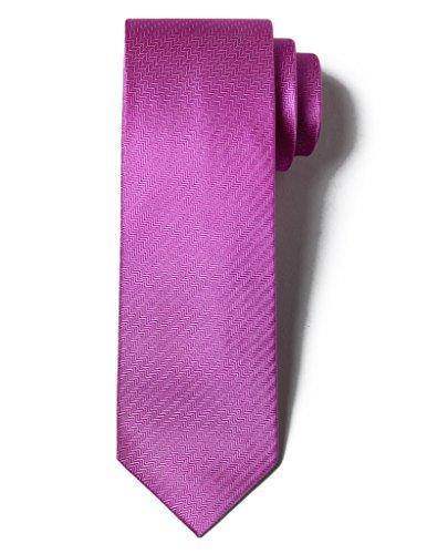 Origin Ties Men's 100% Silk Solid Herringbone Skinny Tie ()