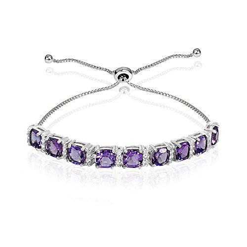 (Sterling Silver African Amethyst & White Topaz Cushion-Cut Adjustable Tennis Style Bolo Bracelet for Women Teens Girls)