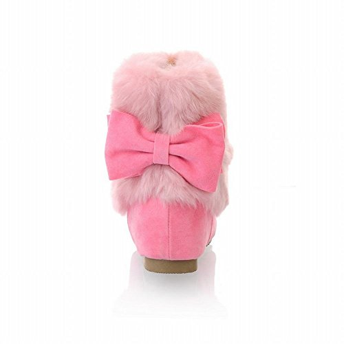 Carol Shoes Sweet Womens Cute Bows Warm Lovely Chic Faux Fur Decorations Winter Use Comfort Snow Boots Pink hqAeGMQx