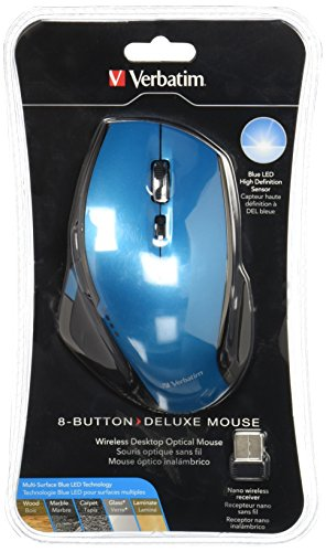 Verbatim Wireless Desktop 8-Button Deluxe Blue LED Mouse,