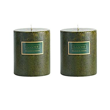 Two (2) Illume 3  x 3.5  Scented Pillar Candles in Balsam & Cedar