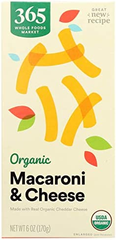 365 by Whole Foods Market, Organic Macaroni & Cheese, Cheddar, 6 Ounce