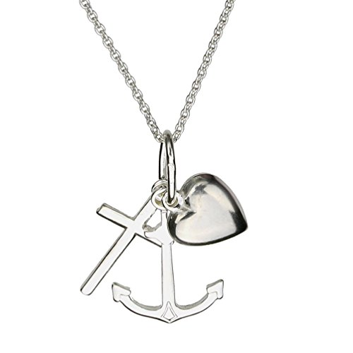 Sterling Silver Faith Hope Charity Heart Charm Pendant Cable Chain Necklace Italy, ()